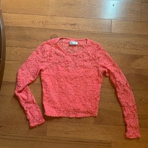 Cropped coral Hollister long sleeve